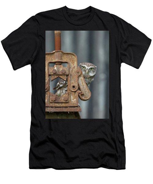 Little Owl Peeking Men's T-Shirt (Athletic Fit)