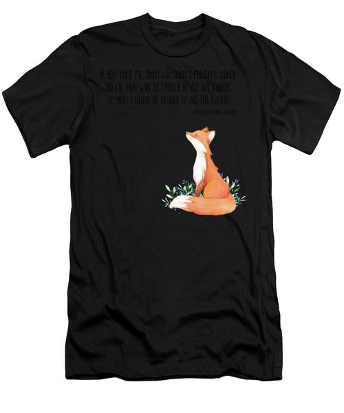 Little Prince Fox Quote, Text Art Men's T-Shirt (Athletic Fit)
