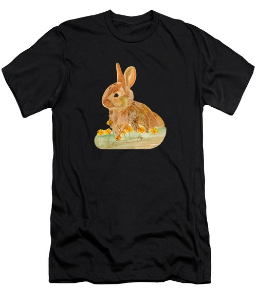 Men's T-Shirt (Athletic Fit) featuring the painting Little Rabbit by Angeles M Pomata