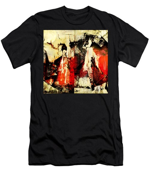 Little Red Riding Hood And The Big Bad Wolf Under A Yellow Moon Men's T-Shirt (Athletic Fit)