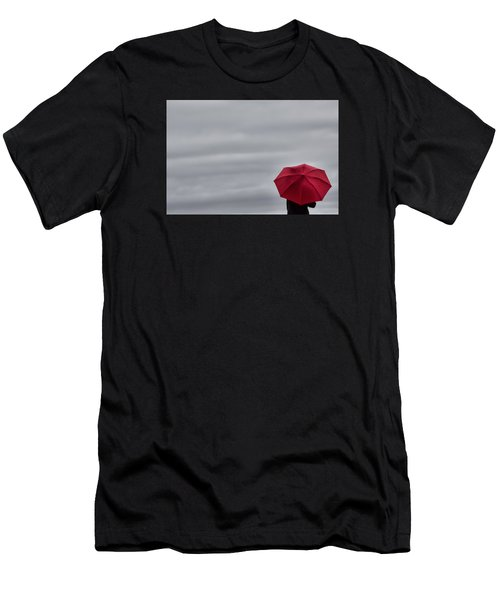 Little Red Umbrella In A Big Universe Men's T-Shirt (Athletic Fit)