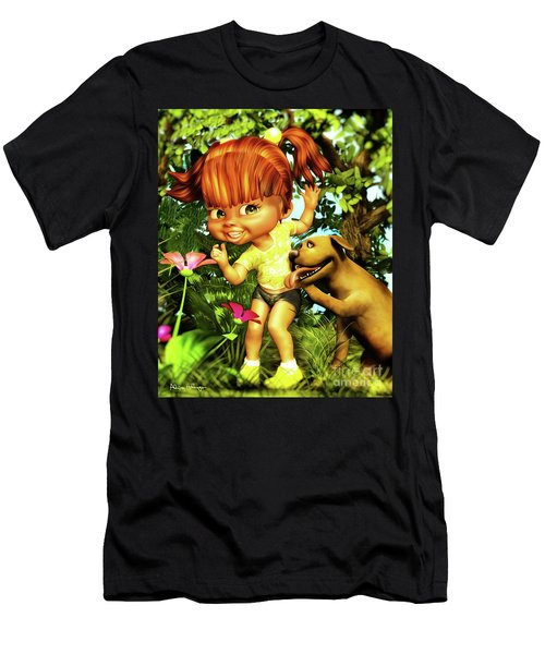 Little Redhead And Her Dog Men's T-Shirt (Athletic Fit)