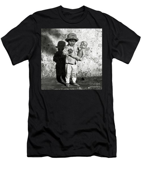 Men's T-Shirt (Athletic Fit) featuring the photograph Little Vietnamese Girl Playing With Her Doll by Silva Wischeropp