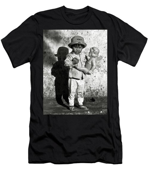 Little Vietnamese Girl Playing With Her Doll Men's T-Shirt (Athletic Fit)