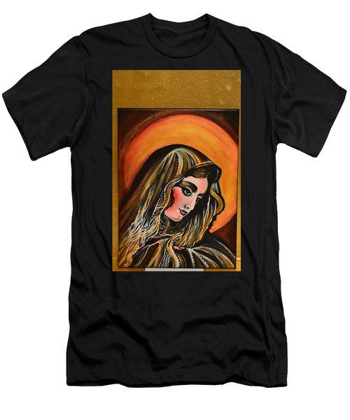 Men's T-Shirt (Slim Fit) featuring the painting lLady of sorrows by Sandro Ramani