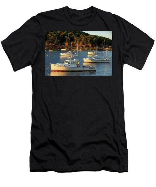Men's T-Shirt (Slim Fit) featuring the photograph Lobster Boats At Bar Harbor Me  by Emmanuel Panagiotakis