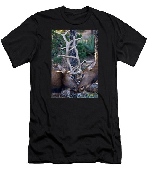 Men's T-Shirt (Athletic Fit) featuring the photograph Locking Horns - Well Antlers by Rikk Flohr