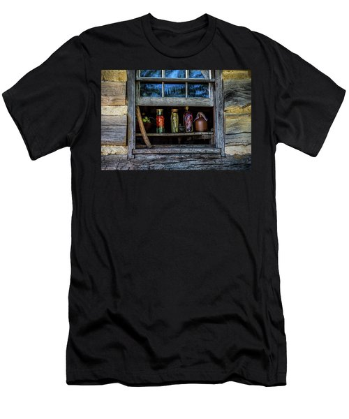 Men's T-Shirt (Slim Fit) featuring the photograph Log Cabin Window by Paul Freidlund