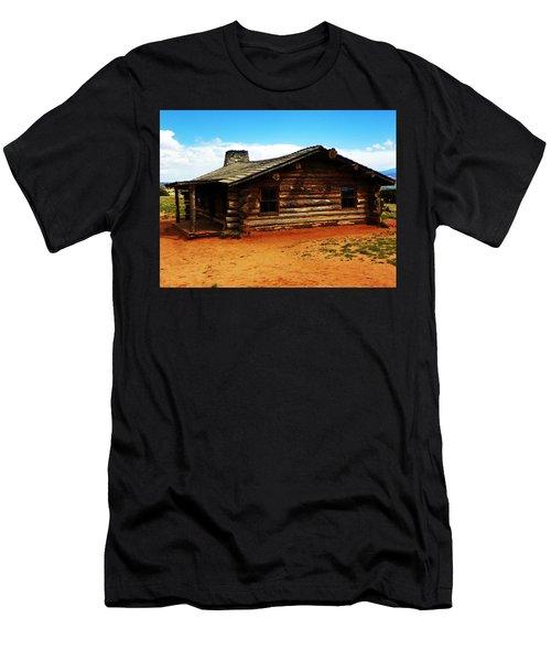 Men's T-Shirt (Slim Fit) featuring the photograph Log Cabin Yr 1800 by Joseph Frank Baraba
