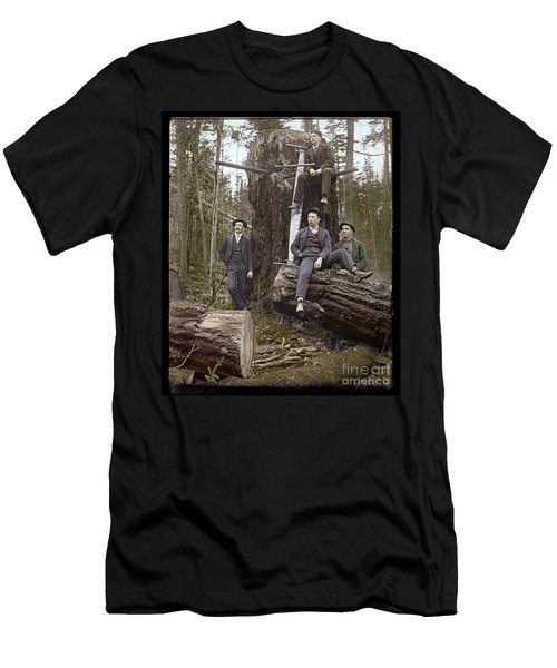 Men's T-Shirt (Slim Fit) featuring the photograph Loggers Sunday Best 1911 by Martin Konopacki Restoration