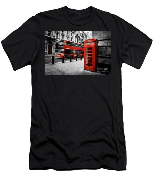 London Bus And Telephone Box In Red Men's T-Shirt (Athletic Fit)