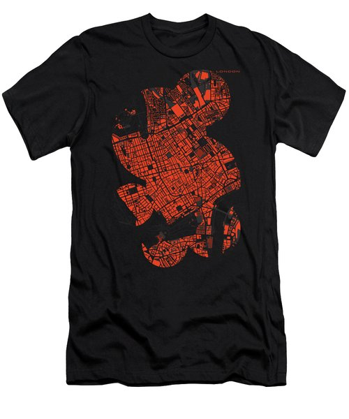 London Engraving Map Men's T-Shirt (Slim Fit) by Jasone Ayerbe- Javier R Recco