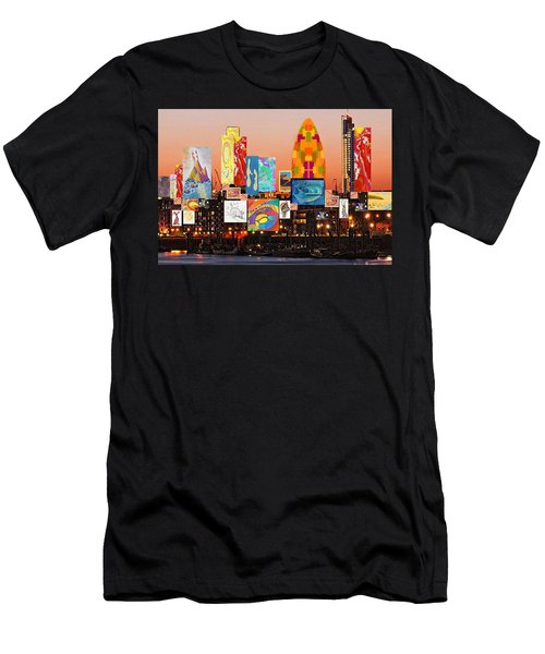 London Skyline Collage 2 Men's T-Shirt (Athletic Fit)