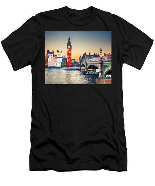 London Skyline Collage 3 Inc Big Ben, Westminster  Men's T-Shirt (Athletic Fit)