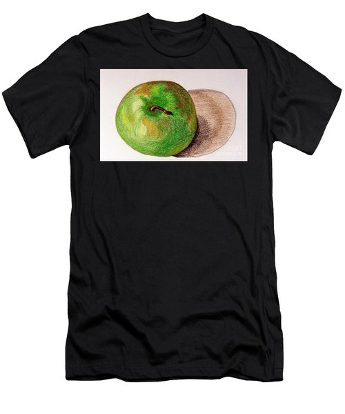 Men's T-Shirt (Slim Fit) featuring the drawing Lone Apple by Sheron Petrie