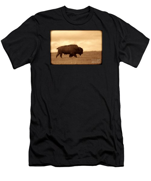 Lone Bison  Men's T-Shirt (Slim Fit) by American West Legend By Olivier Le Queinec