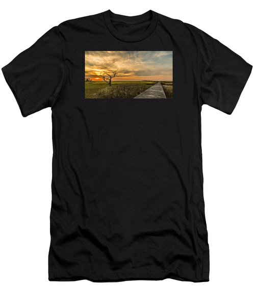 Lone Cedar Dock Sunset - Dewees Island Men's T-Shirt (Athletic Fit)