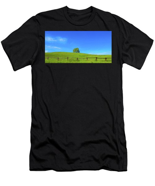 Lone Tree On A Hill Digital Art Men's T-Shirt (Athletic Fit)