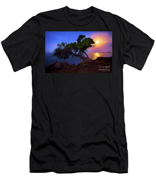 Lone Tree On Pacific Coast Highway At Moonset Men's T-Shirt (Athletic Fit)