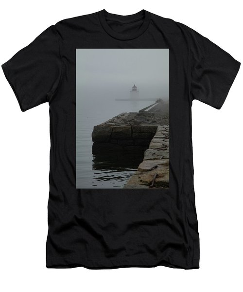 Men's T-Shirt (Athletic Fit) featuring the photograph Lonely Salem Lighthouse In Fog by Jeff Folger