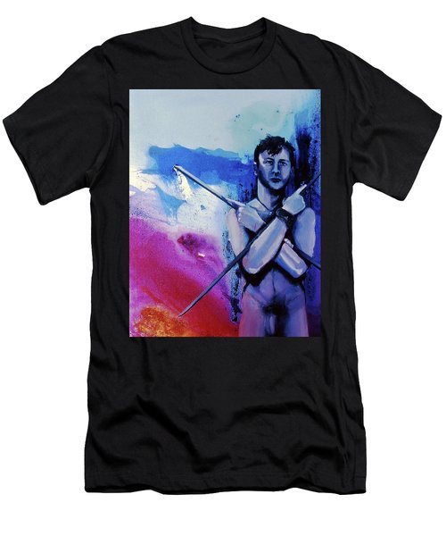 Men's T-Shirt (Athletic Fit) featuring the painting Lonely Warrior  by Rene Capone