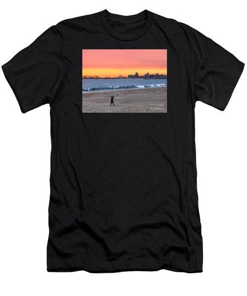 Long Beach From Huntington Beac Men's T-Shirt (Athletic Fit)