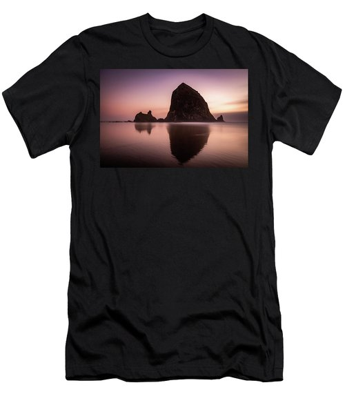 Long Exposure Of Haystack Rock At Sunset Men's T-Shirt (Slim Fit) by Pierre Leclerc Photography