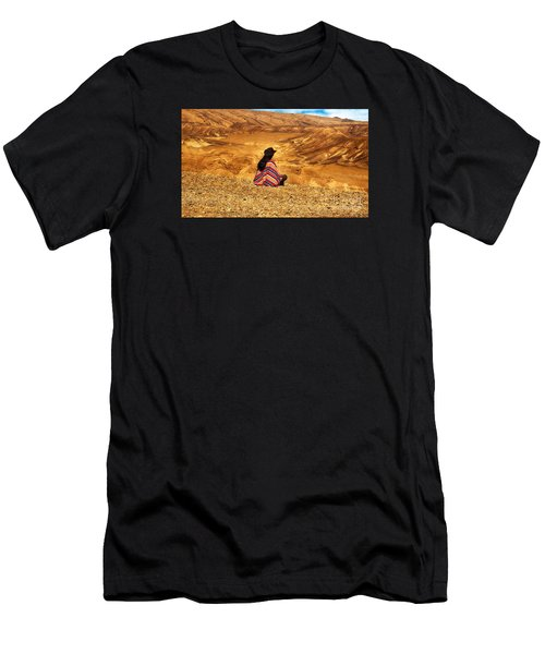 Long Haired Man In Poncho Men's T-Shirt (Athletic Fit)