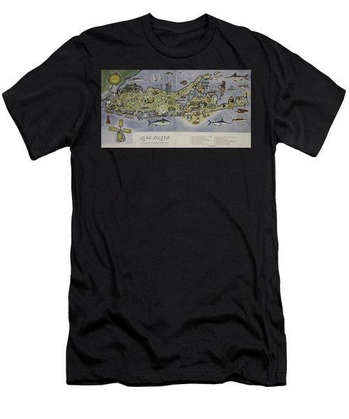 Long Island An Interpretive Cartograph Men's T-Shirt (Athletic Fit)