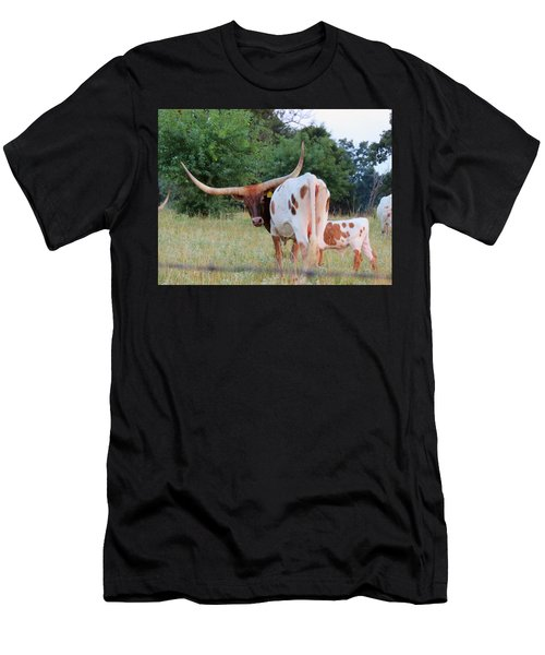 Men's T-Shirt (Slim Fit) featuring the photograph Longhorn Cattle by Robin Regan