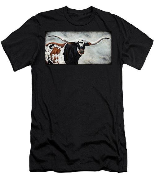Men's T-Shirt (Athletic Fit) featuring the painting Longhorn by Dede Koll