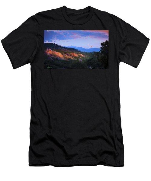 Longs Peak And Glowing Rocks Men's T-Shirt (Athletic Fit)