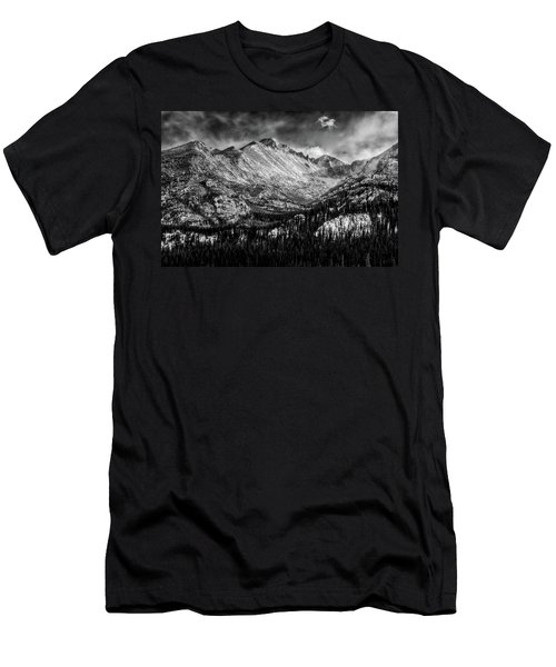 Longs Peak Rocky Mountain National Park Black And White Men's T-Shirt (Athletic Fit)