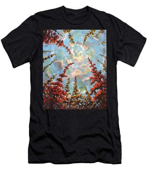 Men's T-Shirt (Athletic Fit) featuring the painting Look Through The Trees by Joel Tesch