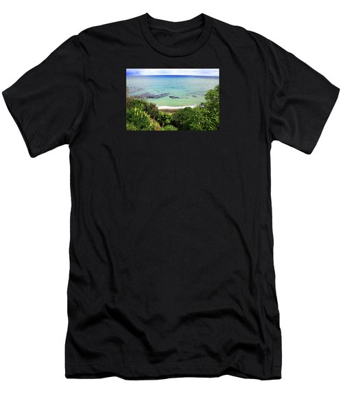 Men's T-Shirt (Athletic Fit) featuring the photograph Looking Down To The Beach by Nareeta Martin