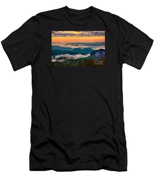 Looking Glass In The Blue Ridge At Sunrise Men's T-Shirt (Slim Fit) by Dan Carmichael