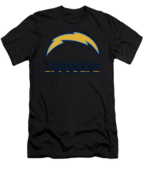 Los Angeles Chargers On An Abraded Steel Texture Men's T-Shirt (Athletic Fit)