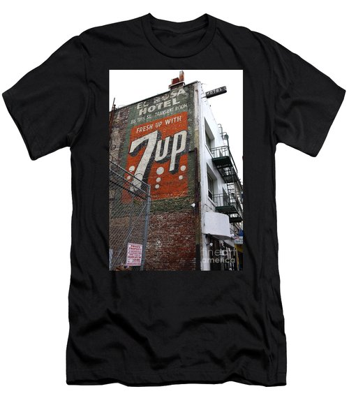Men's T-Shirt (Athletic Fit) featuring the photograph Lost In Urban America - El Rosa Hotel - Tenderloin District - San Francisco California - 5d19351 by Wingsdomain Art and Photography