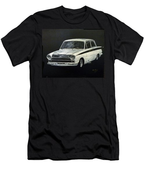 Men's T-Shirt (Athletic Fit) featuring the painting Lotus Cortina by Richard Le Page