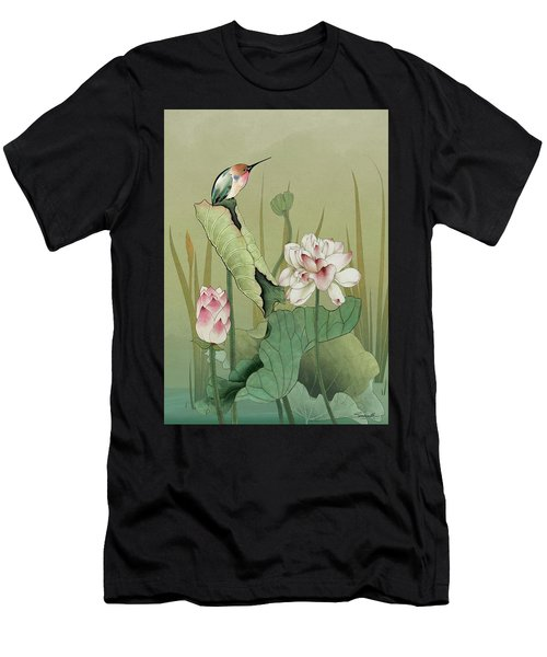 Lotus Flower And Hummingbird Men's T-Shirt (Athletic Fit)