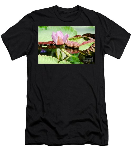 Men's T-Shirt (Slim Fit) featuring the painting Lotus Flower In Water by Yurix Sardinelly