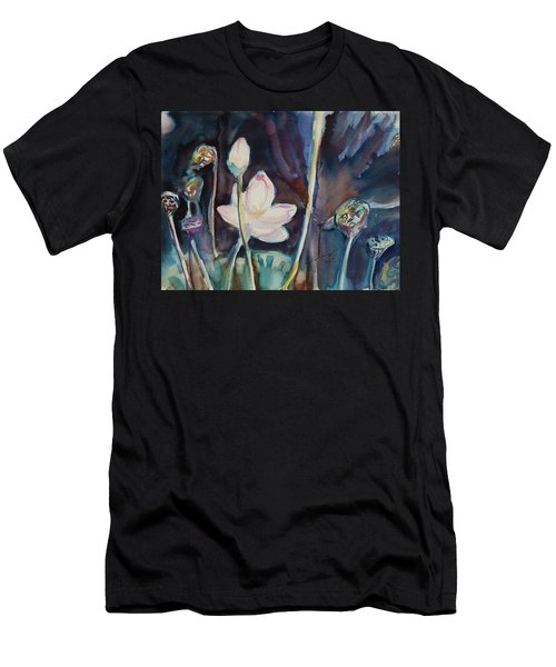Men's T-Shirt (Slim Fit) featuring the painting Lotus Study II by Xueling Zou