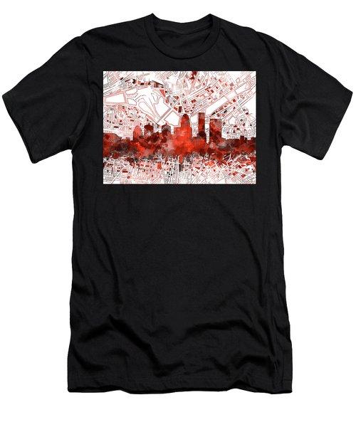 Louisville Kentucky Skyline Watercolor 10 Men's T-Shirt (Athletic Fit)