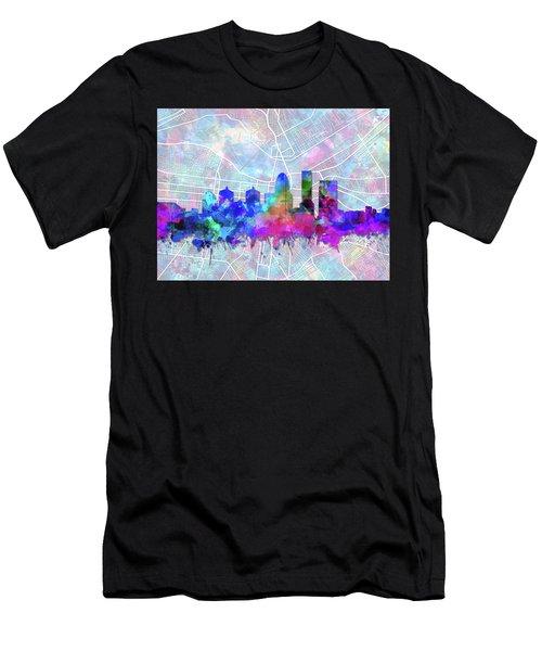 Louisville Kentucky Skyline Watercolor 5 Men's T-Shirt (Athletic Fit)