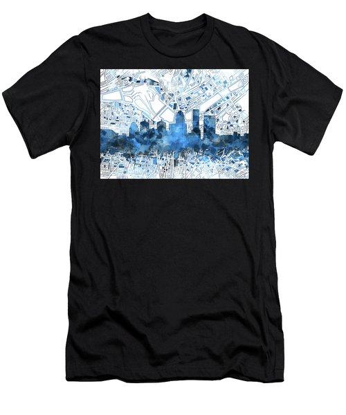 Louisville Kentucky Skyline Watercolor 9 Men's T-Shirt (Athletic Fit)