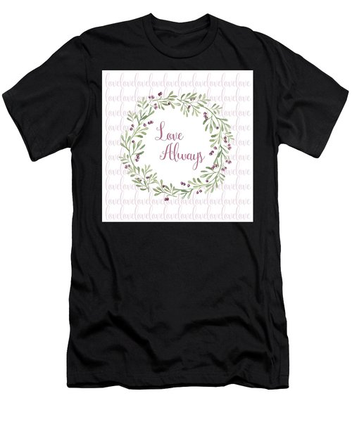 Love Always Wreath Pink And Green Square Men's T-Shirt (Athletic Fit)
