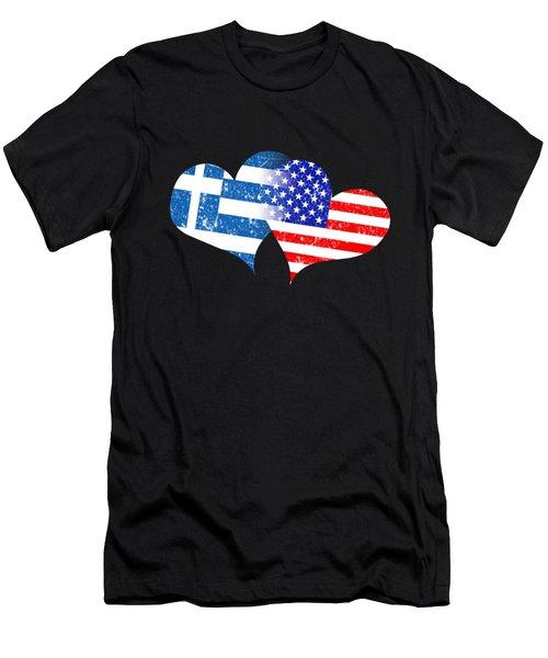 Love Greek Flag Love American Flag Men's T-Shirt (Athletic Fit)
