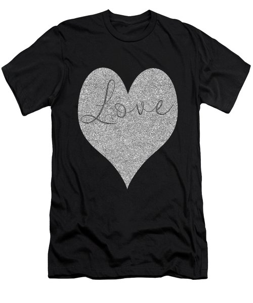 Love Heart Glitter Men's T-Shirt (Athletic Fit)