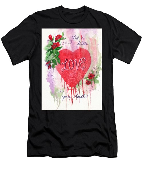 Men's T-Shirt (Slim Fit) featuring the painting Love In Your Heart by Marilyn Smith