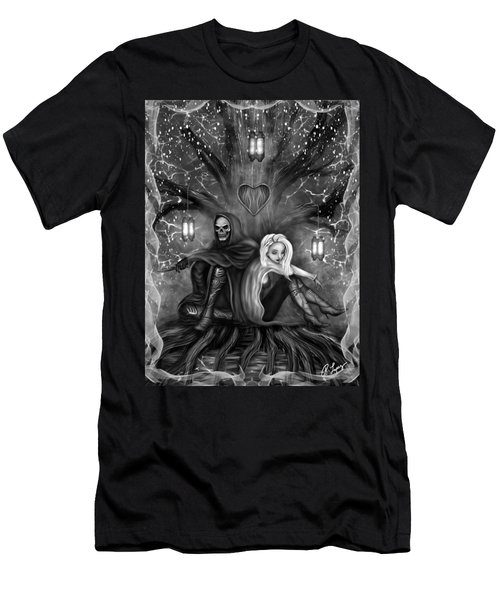 Men's T-Shirt (Athletic Fit) featuring the painting Love Is Complicated - Black And White Fantasy Art by Raphael Lopez